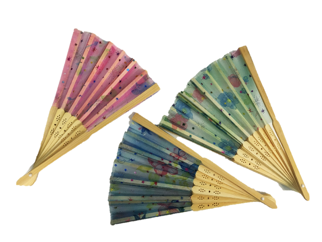 Βεντάλια ξύλινη με ύφασμα 4931